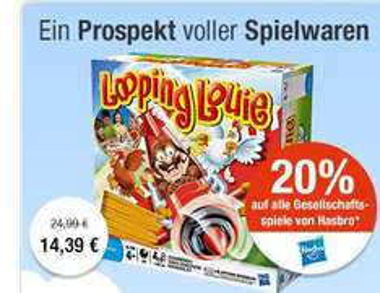 20% auf Hasbro Gesellschaftsspiele und Artikel von Play-Doh @Galeria Kaufhof