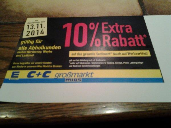 10% Rabatt am 13.11 beim Edeka C+C Großmarkt Mios