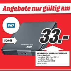 "[MediaMarkt Dorsten] Western Digital Elements Portable 500GB 2,5"" USB 3.0 für 33€"