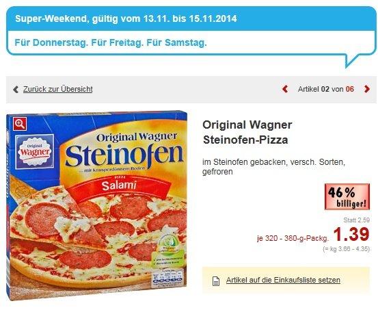 [KAUFLAND] Wagner Steinofenpizza im Super Weekend vom 13.11. bis 15.11.