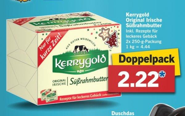 LIDL: Kerrygold (Süßrahmbutter) im Doppelpack inkl. Rezepte für 2,22€ (2x250gr.)