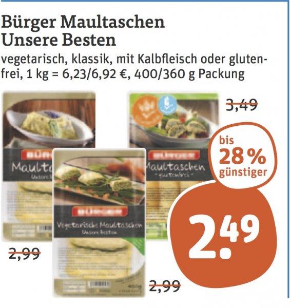 "[tegut] BÜRGER Maultaschen ""Unsere Besten"" für 1,49 € (Angebot + Coupon)"