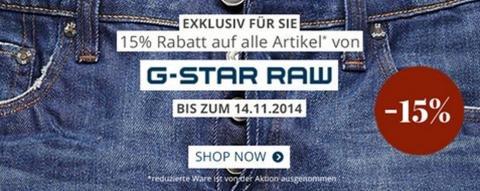 15% Rabatt auf G-Star + 10€ Newslettergutschein @engelhorn