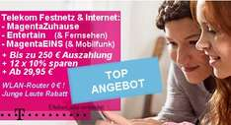 Telekom MagentaZuhause S Friends für Junge Leute (DSL 16000 Flat + Festnetz-Flat) für 14,49€ pro Monat