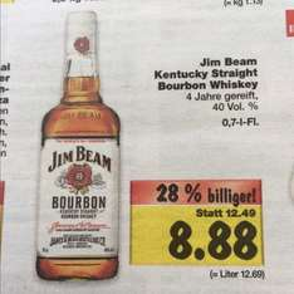 8,88€ Jim Beam 0,7l Kaufland Super Weekend ab 13.11 - 15.11