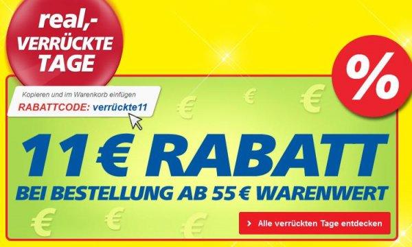 Real verrückte Tage - 11€ Rabatt ab 55€ Online Bestellung