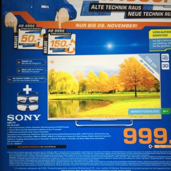 Lokal Saturn Duisburg : Sony KDL 55 W 815 für 999€ + 150€ Saturn Gutscheincard