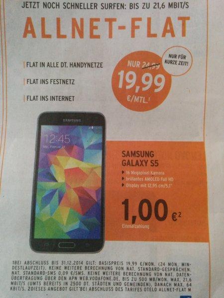 [offline /Berlet] Samsung Galaxy S5 schwarz 16 GB inkl. otelo Allnetflat (Festnetz, mobil, 500 MB)