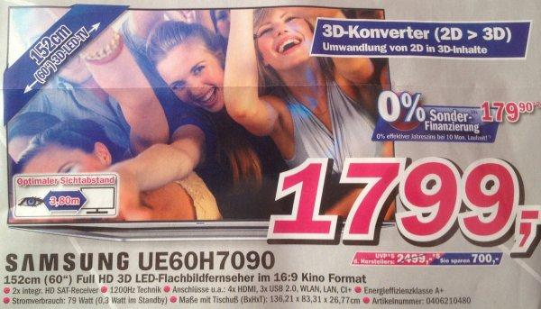 [Lokal Telepoint Borken] Samsung UE60H7090 1799,- + 50€ Gutschein | Ersparnis: 119€