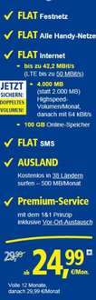 1&1 Allnet PRO 4GB 42Mbit ohne LTE 30€/Monat inkl. Ausland