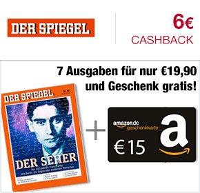 [Qipu] 7 Ausgaben DER SPIEGEL für 19,90€ + 15€ Amazon Gutschein + 6€ Cashback