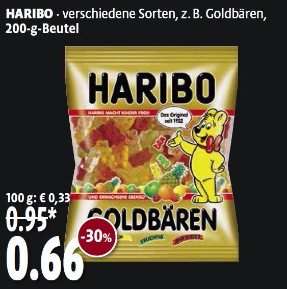 Haribo, verschiedene Sorten (200gr) mit 30% Ersparnis für 66Cent