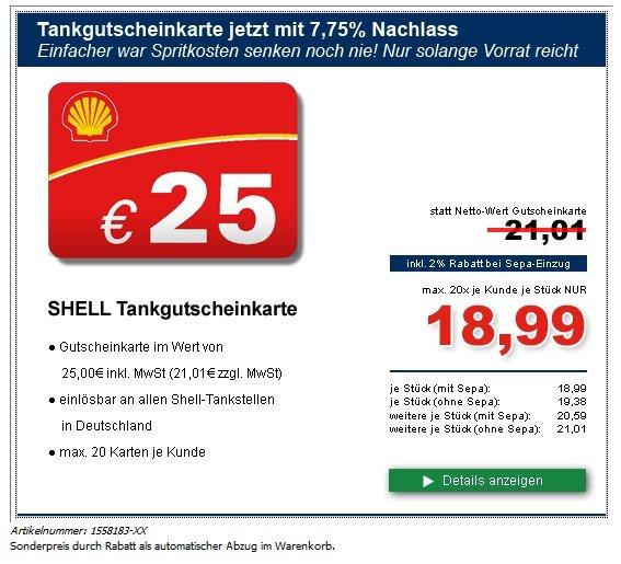 Shell Tankgutscheine im Wert von 25 Euro