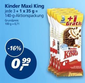 Real, Kinder Maxi King 3+1 für 0,99€