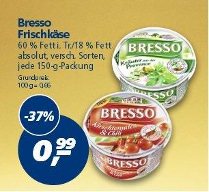 [Real] Bresso Frischkäsezubereitung versch. Sorten 150g für 0,59€ (Angebot+Coupon)