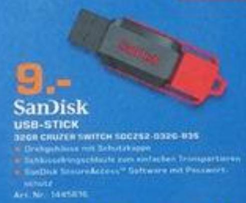Sandisk Cruzer Switch 32GB für 9€, Lokal Saturn Flensburg, Geburtstagsangebote 12.11.-18.11