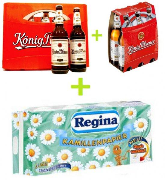 [K+K] König Pilsener 26/30 Flaschen 0,5l/0,33l für 11,99€ + Gratis 8x150 Blatt Regina Toilettenpapier 3-lagig
