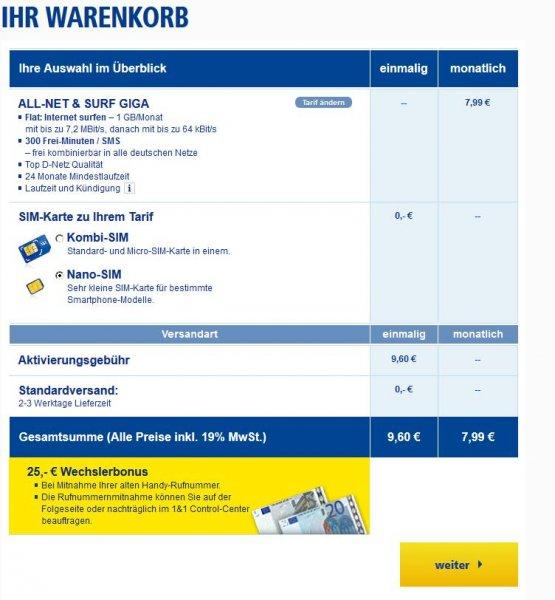 1 & 1 Flat: Internet surfen – 1 GB/Monat, 300 Frei-Minuten / SMS, D-Netz 7,99€