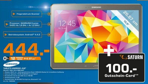 [Lokal Saturn Saarbrücken] Samsung Galaxy Tab 10.5 444€+ 100€ Gutschein / Galaxy S5 399+100€ Gutschein