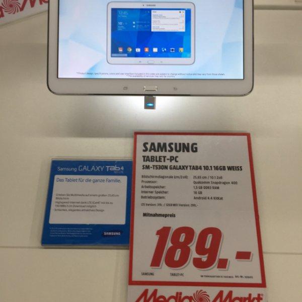 Samsung Galaxy Tab 4 10.1 WiFi in schwarz oder weiß im Media Markt für € 189.-