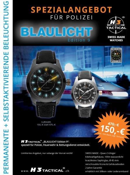 H3TACTICAL H3 Uhr Blaulicht Edition 9 inkl. Pflegetuch statt 473,99€