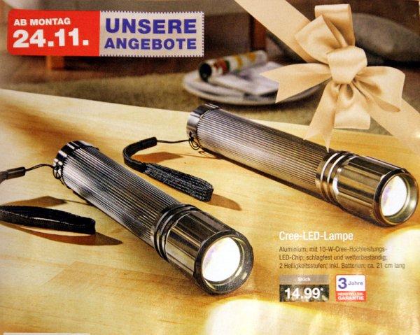 ALDI Nord 24.11. 10W CREE LED Lampe mit Batterien