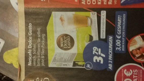 real - Nescafé Dolce Gusto 3,79€ ab 3 Packungen -  für Bevorrater effektiv sogar 3,46€ (siehe Beschreibung)