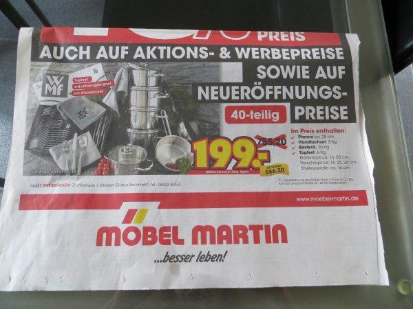 (lokal) WMF Starterset Saphir 40 teilig -  Möbel Martin Zweibrücken 199,00 € (755,20 €) - 6-teiliges Topfset, Pfanne, 30-teiliges Besteck und 3 Handtücher
