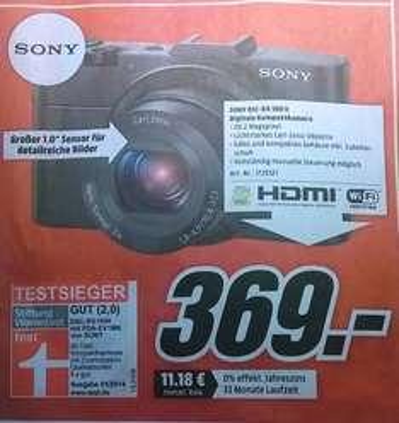 [Lokal Mediamarkt Karlsruhe] Digitalkamera Sony DSC-RX100 Mark II für 369,- Euro