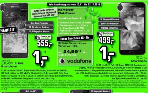 [Lokal Alphatecc] Vodafone Smart L (24,99 mtl.) mit Samsung Galaxy Alpha oder S5
