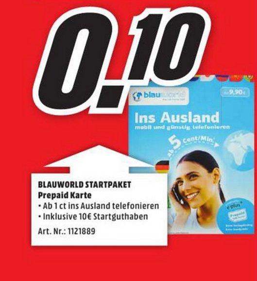 Blauworld Startpaket Prepaidkarte inkl.10€ Startguthaben für 0,10€ (LOKAL) @ Mediamarkt Neuss