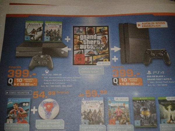 (Lokal) Saturn Goettingen  Ps4 oder Xbox one mit Gta V  für 399 €