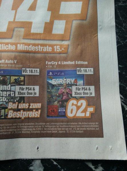 local Farcry 4 ps4 und xone 62€ bei expert klein