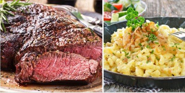 Für 2 Personen: Rumpsteak + Käsespätzle + Maultaschen + Salatgarnitur für 17,90[Neukunde15,90€] statt 37€ im Restaurant Weinsberg in Stuttgart