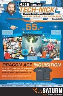 Far Cry 4/Dragon Age Inquisition/GTA V PS4/One jeweils 55 Euro Saturn Köln