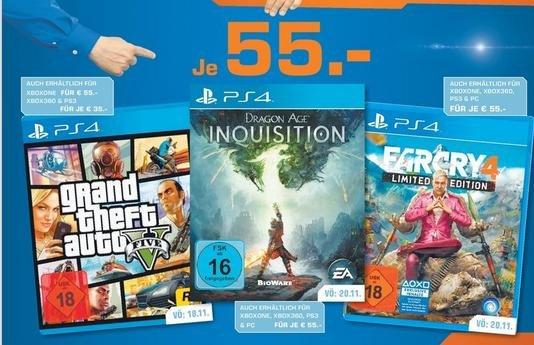 [Saturn Köln / deutschlandweit?] Far Cry 4 / GTA 5 / Dragon Age für je 55€