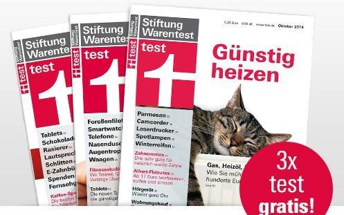 Stiftung Warentest - das test Magazin 3 x GRATIS lesen - aktuelle Ausgaben