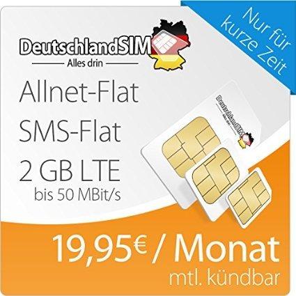 DeutschlandSIM LTE M [SIM, Micro-SIM und Nano-SIM] monatlich kündbar (2 GB LTE Daten-Flat mit max. 50 MBit/s, Telefonie-Flat, SMS-Flat, 19,95 Euro/Monat ) O2-Netz