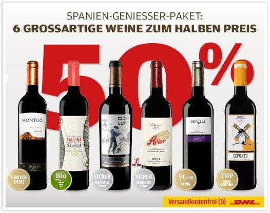 [Vinos.de] für 7 spanische (Rot) Weine (6+1) durch Amazon-Aktion + Gutscheincode (VSK frei)