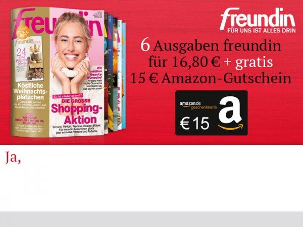 [FREUNDIN] 6 Ausgaben für effektiv 1,80€ dank 15€ Amazon Gutschein