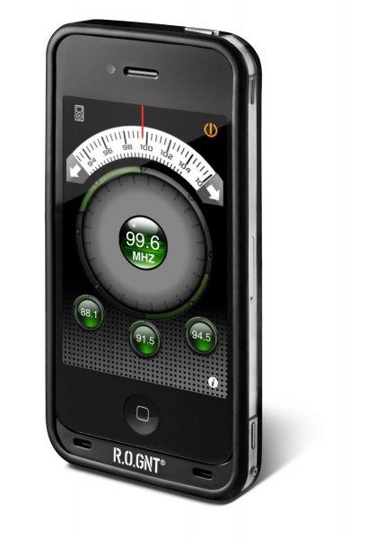 R.O.GNT 0801-88 FM UKW Transmitter inkl. KFZ-Ladekabel (USB) für iPhone 4/4S schwarz und weiß
