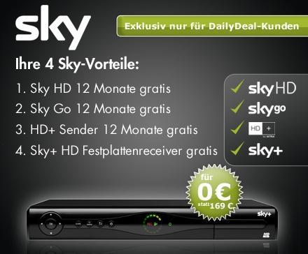 Sichere Dir jetzt für 12 Monate Dein exklusives Sky Paket - Bundesliga, Sport, die neusten Filme, TV-Serien u.v.m. jetzt auch in HD - Dein DailyDeal Gutschein für nur 9,90 Euro