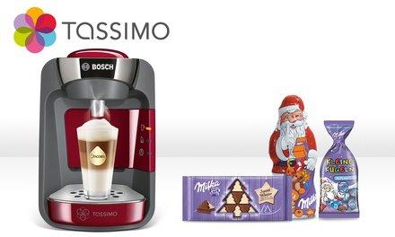TASSIMO Weihnachtspaket: TASSIMO SUNY + 40 € Gutschein für den TASSIMO Onlineshop + Weihnachtssüßigkeiten (inkl. Versand) für 44,99 € @GROUPON
