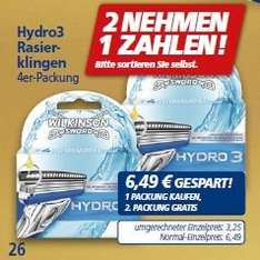[REAL BUNDESWEIT] KW48: 2x Wilkison Hydro 3 Rasierklingen 4 Stück (8 Klingen) für 4,87€ (=0,61€/Klinge) Angebot+Coupies