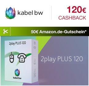 Kabel BW 120 Mbit/s 2play PLUS 120 mit 50€ Amazon.de-Gutschein,2 Gratis Monaten und 120€ Cashback