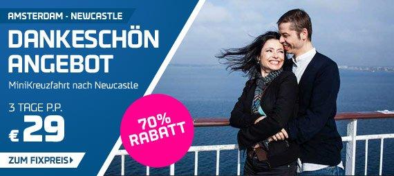 Nur bis zum 23.11.2014 buchbar !! Kreuzfahrt 3 Tage - Von Amsterdam nach Newcastle ( für 2 Personen) für 58 €  @DFDS Seaways