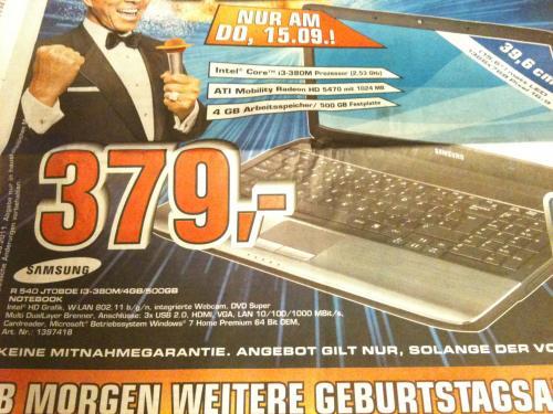 [LOKAL] Samsung R540 JT0BDE @Saturn Hamburg