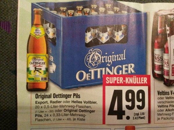 [Lokal Edeka Hessenring] Oettinger Pils, Export, Radler oder helles Vollbier 20 x 0,5l für nur 4,99 Euro pro Kiste (zzgl. 3,10 Euro Pfand)