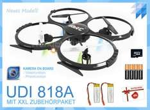 Quadrocopter UDI RC U818A mit Kamera + 2 Akkus + 2 GB Micro SD + Sonnenbrille