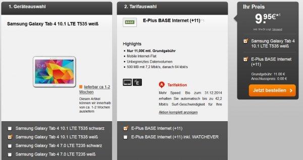 Samsung Galaxy Tab 4 (10.1) 16GB - ((LTE) mit Vertrag) bei BASE/E-Plus